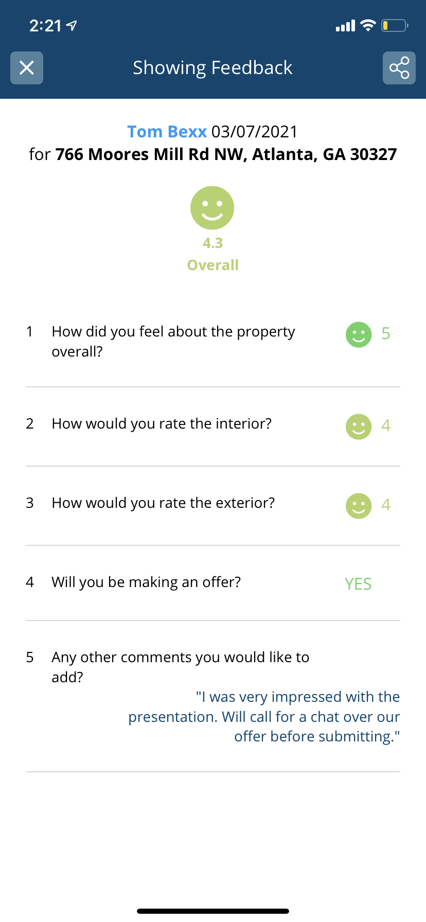 showing feedback survey results